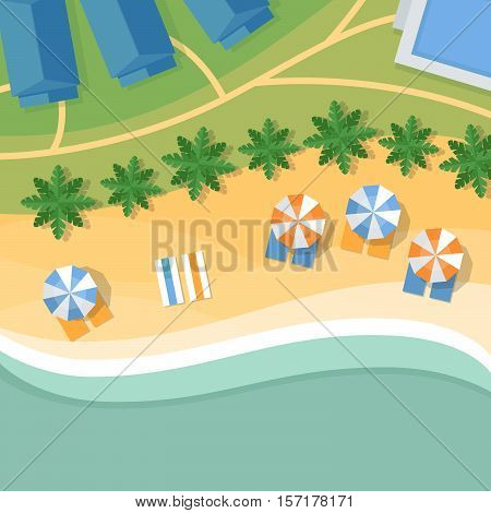 Top View Of A Tropical Beach. Palm Trees, Umbrellas And Lounge Chairs On The Beachfront. Summer Holi