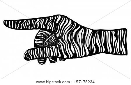 vector - zebra hand gesture - isolated on background