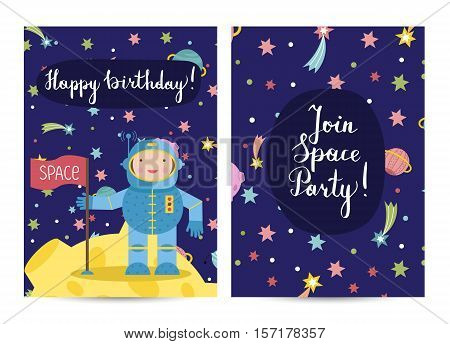 Happy birthday cartoon greeting card on space theme. Smiling astronaut on moon with flag, colorful stars, planets, fiery comets around vector illustration. Invitation on childrens costumed party