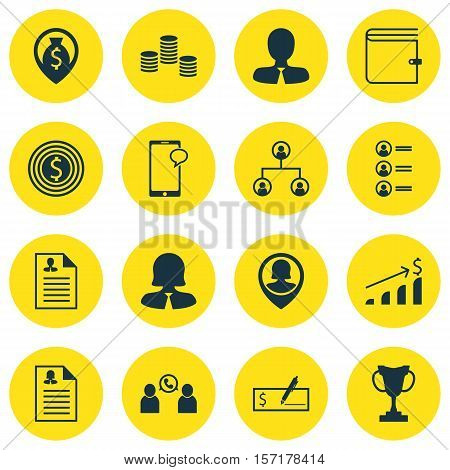 Set Of Hr Icons On Tree Structure, Wallet And Business Goal Topics. Editable Vector Illustration. In