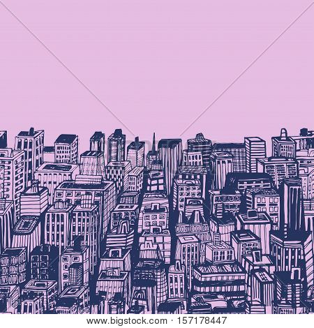 Vintage Illustration With Hand Drawn Big City