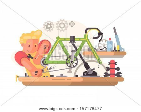 Bicycle repair service. Master regulates and adjusts bike. Vector illustration