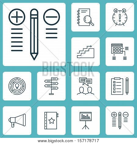 Set Of Project Management Icons On Discussion, Schedule And Presentation Topics. Editable Vector Ill