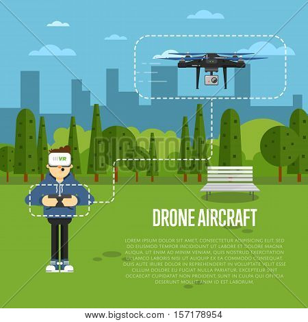 Drone aircraft website template with boy in virtual reality headset operating flying robot in park vector illustration. Remotely controlled multicopter. Unmanned aerial vehicle. Modern flying device.