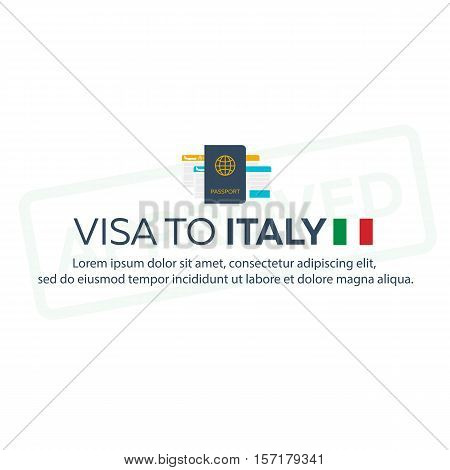 Visa To Italy. Travel To Italy. Document For Travel. Vector Flat Illustration.