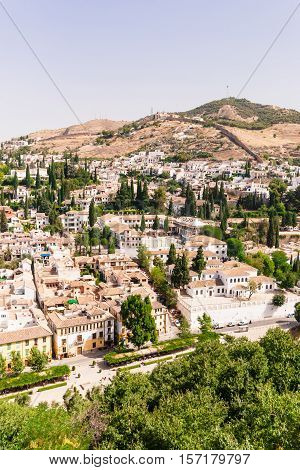 View of the old section of the city of Granada seen from the Alhambra Granada Andalusia southern Spain
