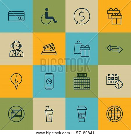 Set Of Airport Icons On Appointment, Present And Crossroad Topics. Editable Vector Illustration. Inc