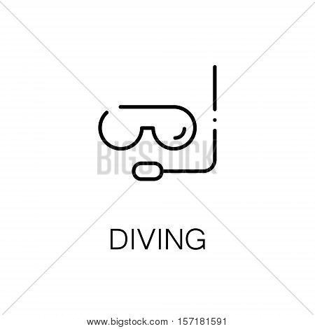 Diving flat icon. Single high quality outline symbol of camping for web design or mobile app. Thin line signs of diving for design logo, visit card, etc. Outline pictogram of diving