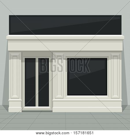 Facade Shop, Store, Boutique With Glass Windows And Doors, Front View. Front Of House. Template For