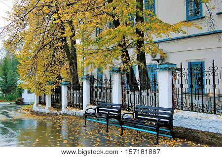 31 Aug 2012 Russia. The City Verkhoturye . Fraternal body of the Saint Nikolaev monastery with the Orthodox Museum and dressed in gold decorations of autumn foliage trees