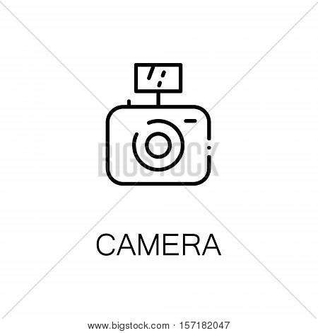 Camera flat icon. Single high quality outline symbol of camping for web design or mobile app. Thin line signs of camera for design logo, visit card, etc. Outline pictogram of camera