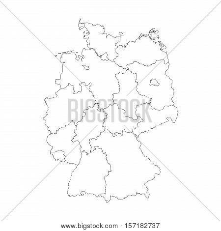 Map of Germany devided to 13 federal states and 3 city-states - Berlin, Bremen and Hamburg, Europe. Simple flat blank white vector map with black outlines.