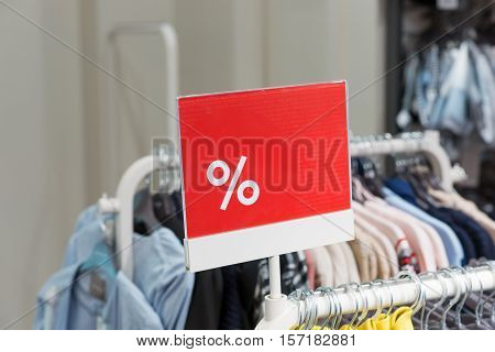Discount percent sign. Bargains in the shop