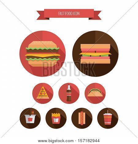 Fast Food Round Icon - Hamburger, French Fries, Soda, Pizza, Hotdog, Tacos, Sandwich, Noodle. Flat D