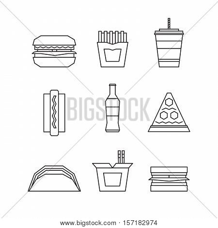 Fast food line icon set - hamburger french fries soda pizza hotdog tacos sandwich noodle. Vector Illustration.