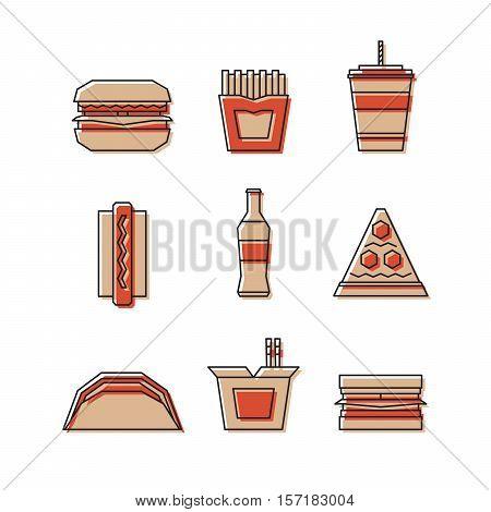 Fast Food Line Icon Set - Hamburger, French Fries, Soda, Pizza, Hotdog, Tacos, Sandwich, Noodle. Vec