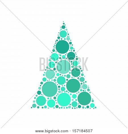 Simple abstract chrismas tree of dots, or circles, in a triangle shape. Blue illustration on white background.