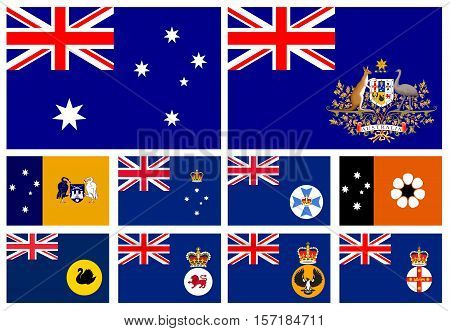 Flag of states of Australia in alphabetical order
