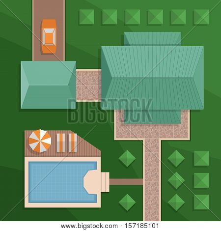 Plan a private house with a courtyard lawn and pool. Top view of a house. Landscape view from above. Colorful vector illustration flat style.