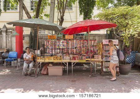 BANGKOK THAILAND - JUL 17 : souvenir stall in Khao San road on july 17 2016. Khao San road is tourist hub of Bangkok.