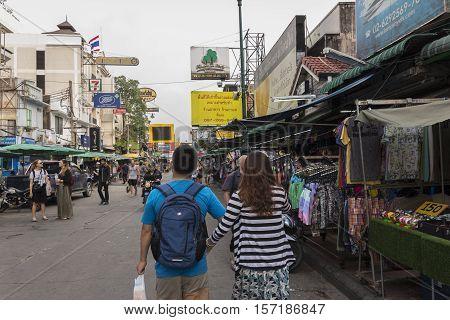 BANGKOK THAILAND - OCT 18 : snap shot of tourist in Khao San road on october 18 2016. Khao San road is tourist hub of Bangkok.