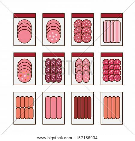 Sausages collection. Various sausages and meat products icon set.