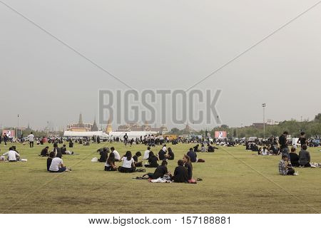 BANGKOK THAILAND - OCT 18 : A crowd of people at Sanam Luang while the body of Thailand Bhumibol Adulyadej in funeral at Grand Palace on october 18 2016