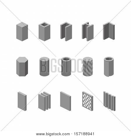 Metallurgy Products Vector Icons Set. Steel Structure And Pipe.