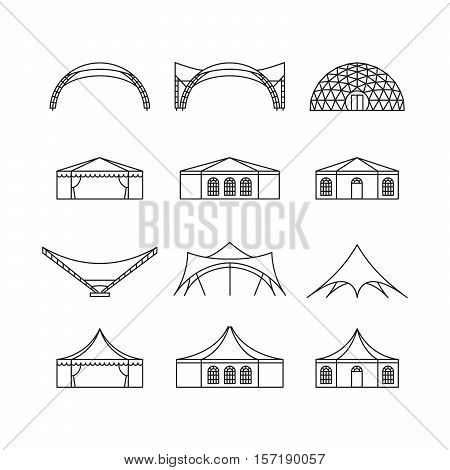 Icon set of various types event tent. Folding tent canvas roof wedding tent canopy. Vector illustration.