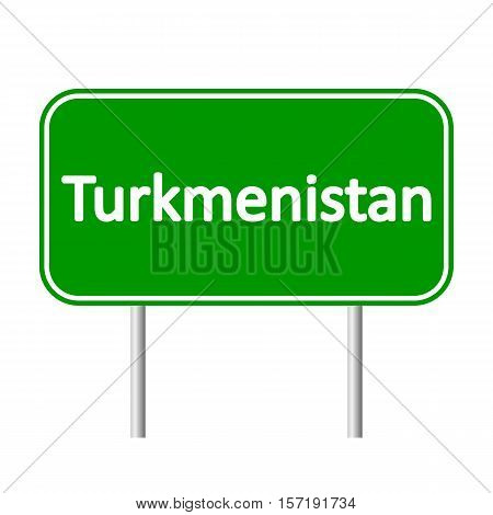Turkmenistan road sign isolated on white background.