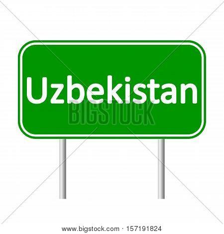 Uzbekistan road sign isolated on white background.