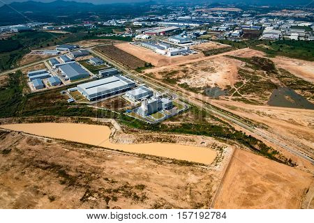 Industrial estate land development in Thailand aerial view