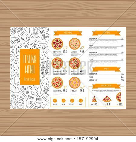 Pizza Menu Design. Tri-fold Leaflet Layout Template. Restaurant Brochure With Modern Line Graphic. V