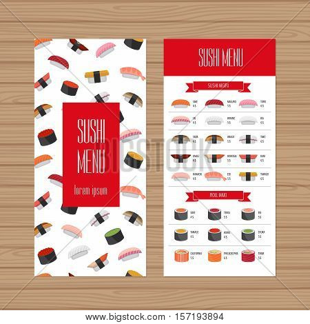 Sushi Menu Design. Leaflet And Flyer Layout Template. Japanese Food Restaurant Brochure With Modern