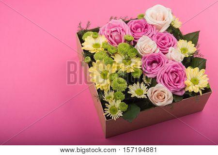 Fresh Roses In Gift Box