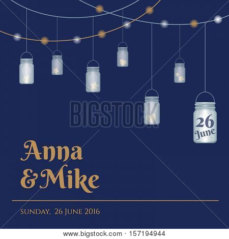 Wedding invitation or greeting card with mason jars. Vector illustration.