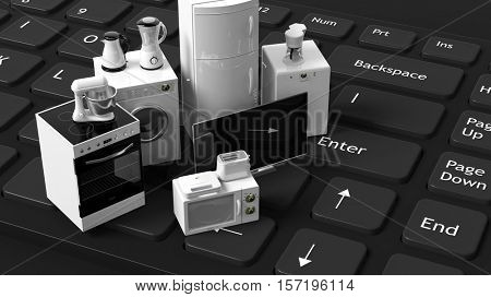 3d rendering set of home appliances on a keyboard