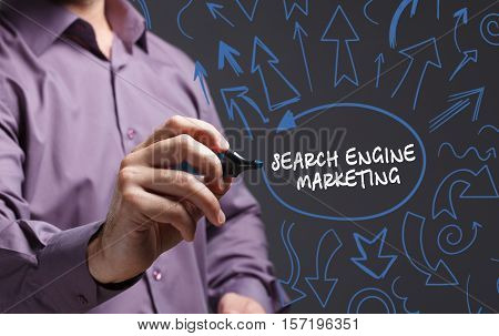 Technology, Internet, Business And Marketing. Young Business Man Writing Word: Search Engine Marketi