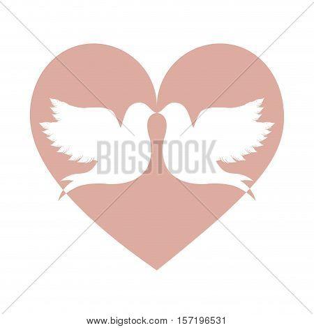 lovebirds silhouette in heart cartoon icon image vector illustration design