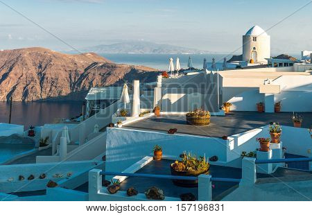 Greece Santorini viwe of Imerovigli village in the light of the early morning
