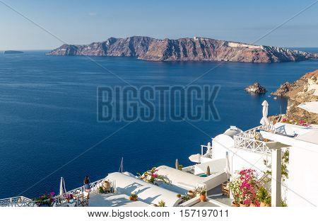 Santorini Greece - October 13 2012: View of the Caldera sea area from the Imerovigli village
