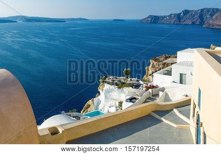 Greece Santorini view of the Caldera sea area from the Imerovigli village
