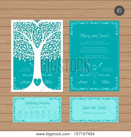 Wedding Invitation Or Greeting Card With Tree. Paper Lace Envelope Template. Wedding Invitation Enve