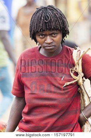Ari Woman At Village Market. Bonata. Omo Valley. Ethiopia.
