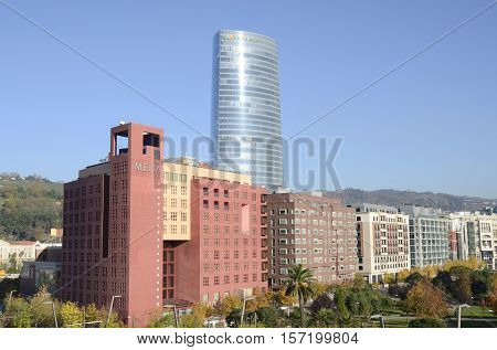 BILBAO, SPAIN - NOVEMBER 17, 2016: View of the Iberdrola Tower designed by architect Pelli in Bilbao Spain.