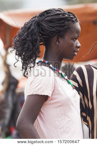 Girl From Ari Tribe At Village Market. Bonata. Omo Valley. Ethiopia.