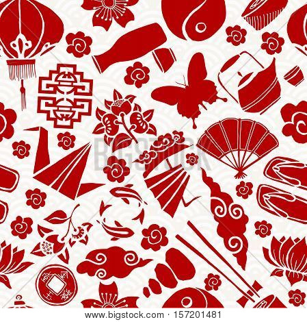 Chinese New Year Asian Culture Seamless Pattern