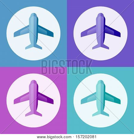 Airplane vector illustration. Airplane view from above isolated from the background. Airplane icon in a flat style. Four airplanes on a grid. Airplane badge.