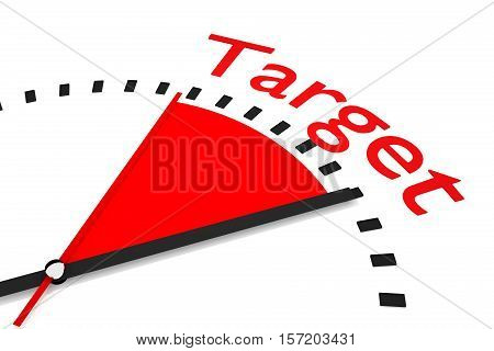 clock with red seconds hand area target 3D Illustration