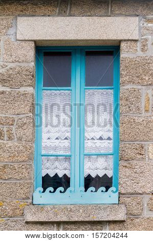 Traditional old breton windows, nice torquoise colour